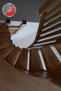 Oak circulat stair design