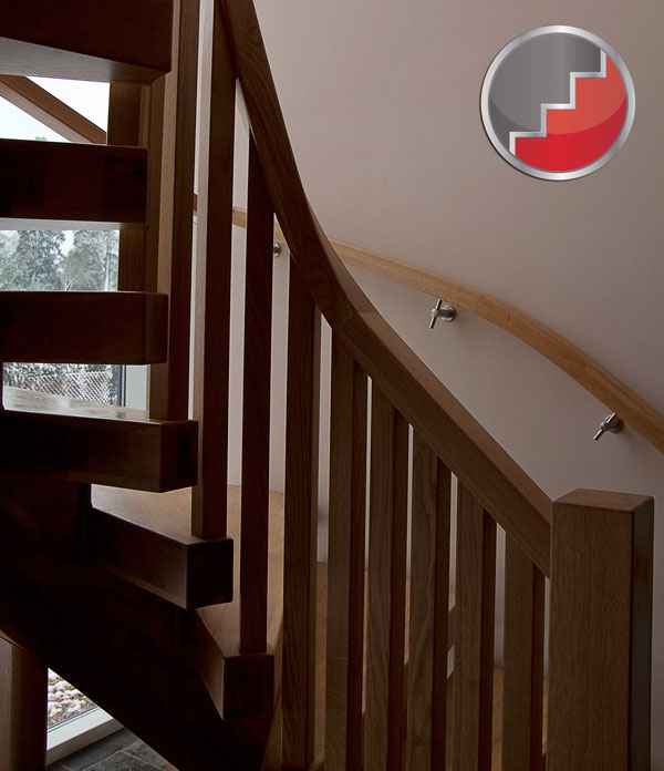 Oak curved stair design