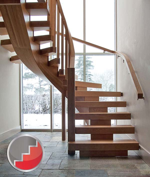 Oak Curved x-vison staircase