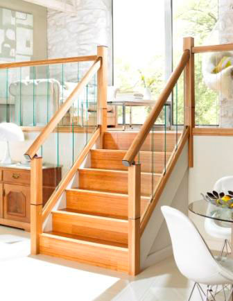 Immix stair parts with Oak handrail and glass panels