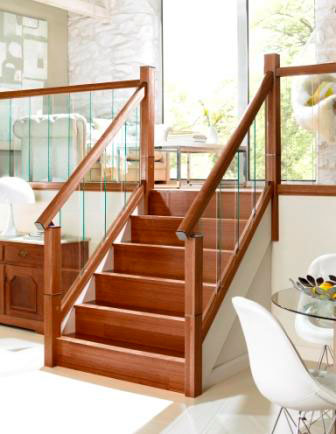 immix balustrade with walnut handrail and glass panels