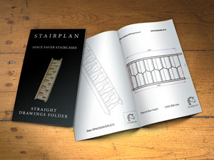 Space saving staircase drawings in plan and 3d forms