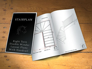 Right turning double winding stairway planner