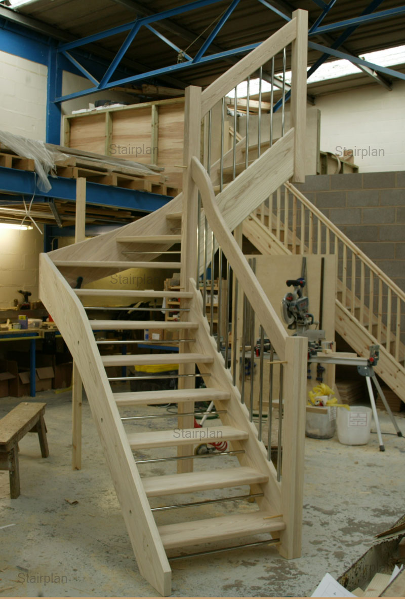 Ash open riser winder staircase