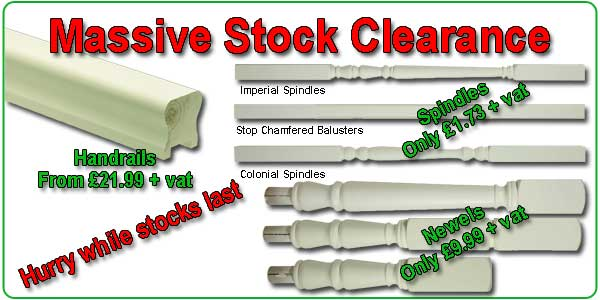 white primed stair spindles stock clearance offer