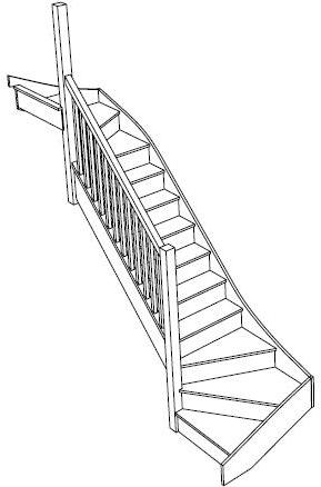 3d view of a left handed double winder staircase fix sice screw design