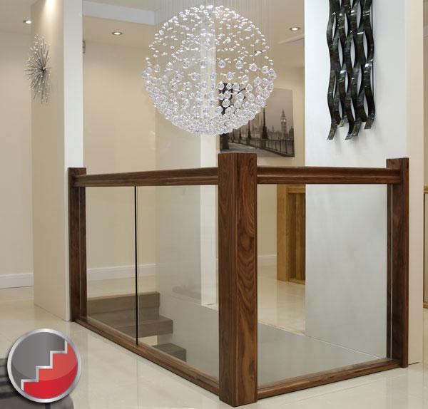 Glass Stair Banisters Milan Black Walnut Handrail