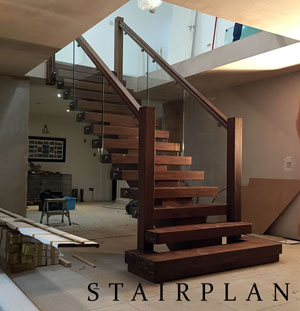 The X-Vision staircase in american black walnut