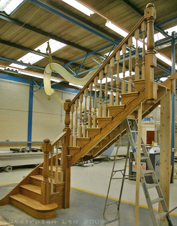 Prescott Oak Cut String Staircase