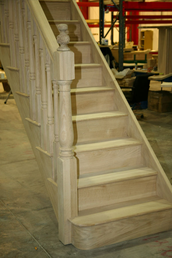 Oak Staircases with detailed Carved newel caps