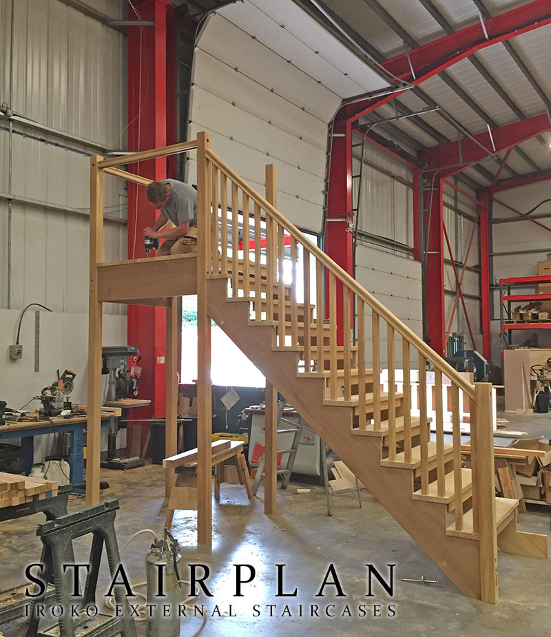 hardwood exterior staircase in the workshop for pre fitting assembly