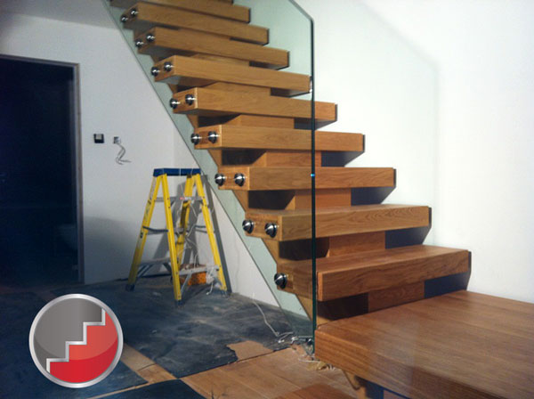new oak staircase frameless balustrading