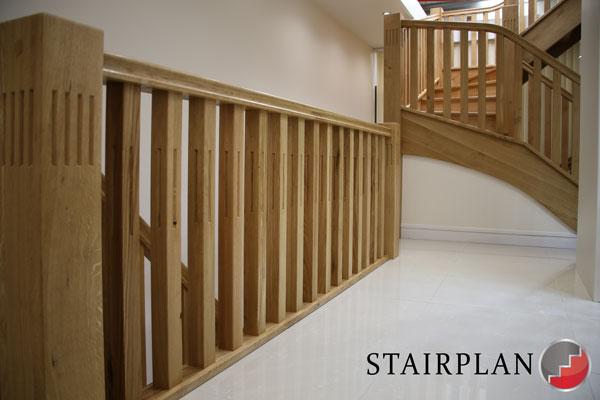 Harlech Oak Landing Handrail Run Rustic Grade Oak