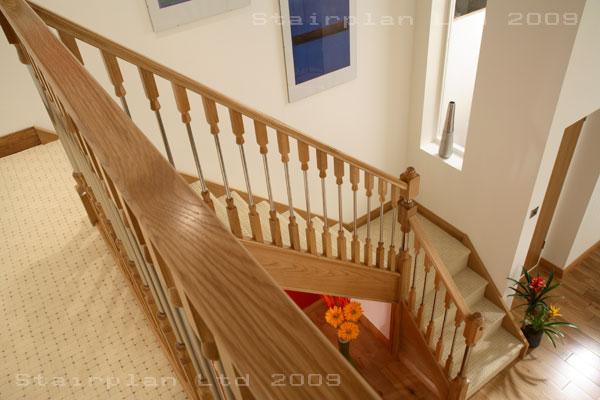 Ikon contemporary oak balustrading ikon stairparts for Quarter landing staircase