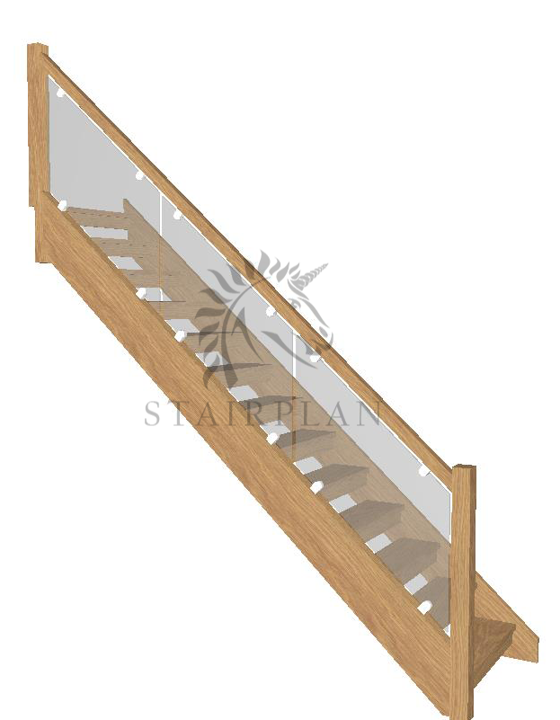 Boston Oak open rise stairway vision glass balustrade with clamps