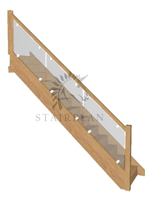Oak staircase with vision glass and brackets