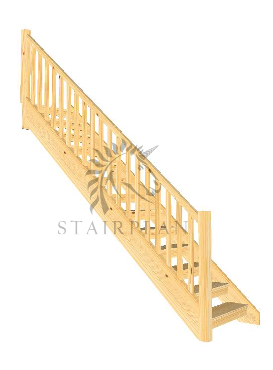Pine Openplan Staircase with handrail