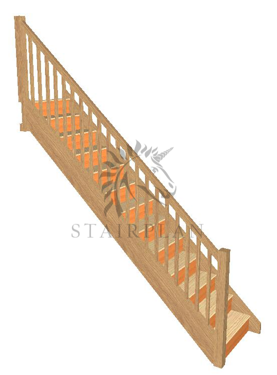 Craftsmans Oak Staircase pine treads square balustrades