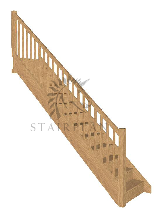 Craftsmans Oak Staircase - Square Newels & Balusters
