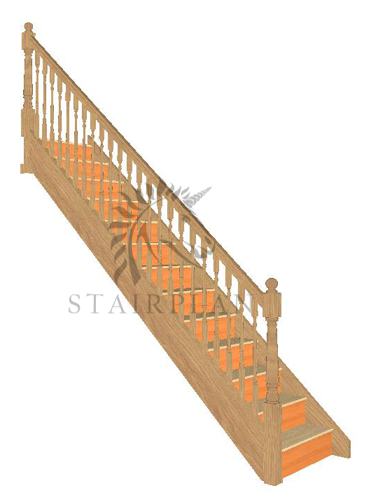 Craftsmans Oak Staircase Pine Treads - Turned Newels and Spindles