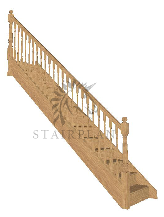 Craftsmans Oak Staircase - Turned Newels and Spindles