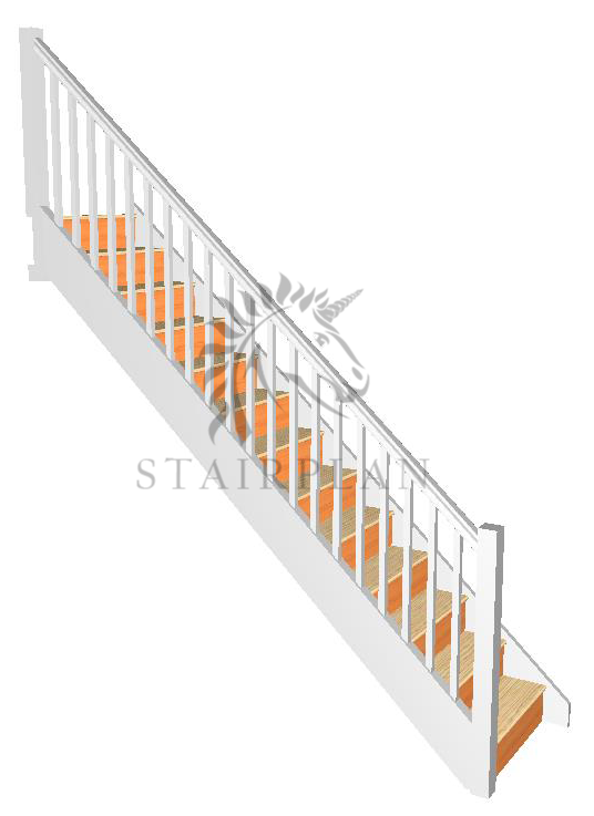 Pre Primed white Craftsmans Pine Staircase - Square Newels and Balusters  Specification   32mm Engineered Pine Strings  22mm Engineered Pine Treads  12mm Plywood Risers  90mm Pine Square Newel Posts  32mm Pine Square Balusters  Pine STHR Handrail  Pine STBR Baserail