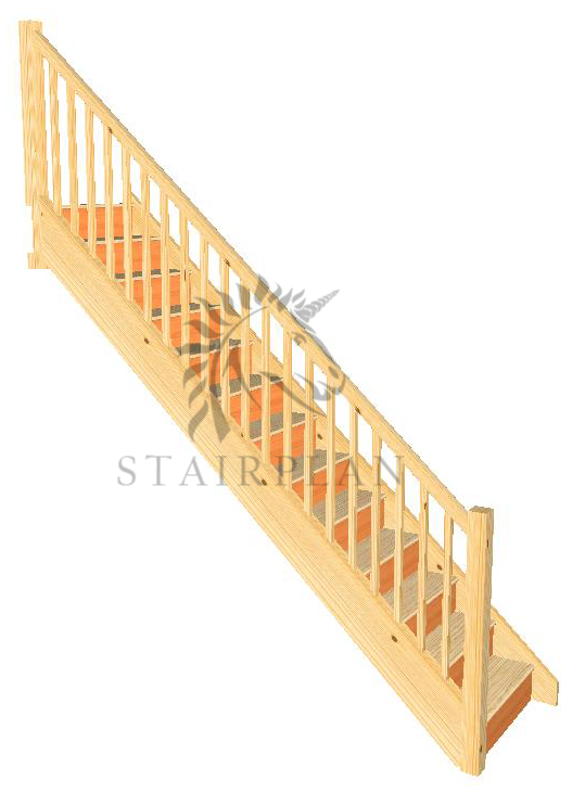 Craftsmans Pine Staircase - Square Newels and Balusters  Specification   32mm Engineered Pine Strings  22mm Engineered Pine Treads  12mm Plywood Risers  90mm Pine Square Newel Posts  32mm Pine Square Balusters  Pine STHR Handrail  Pine STBR Baserail
