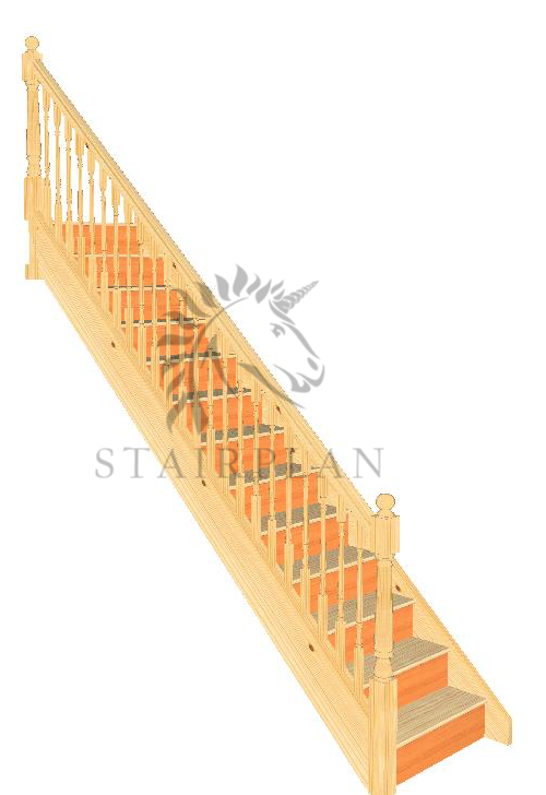 Straight Pine Staircase with turned spindles on balustrade