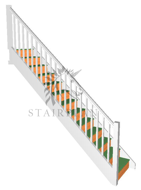 Trade Range Stair with handrail pre white primed strings and balustrade
