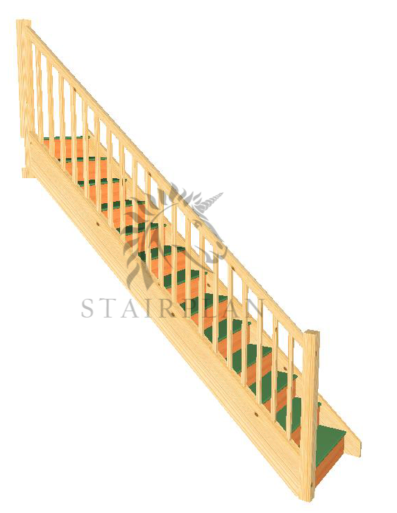 Trade Range Staircase - Square Newels and Balusters  Specification   32mm Engineered Pine Strings  22mm MDF Treads  12mm Plywood Risers  90mm Pine Square Newel Posts  32mm Pine Square Balusters  Pine STHR Handrail  Pine STBR Baserail