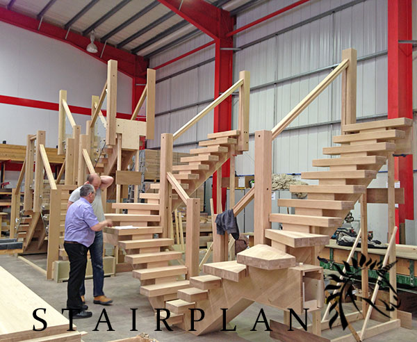 staircase production line showing x-vision staircases