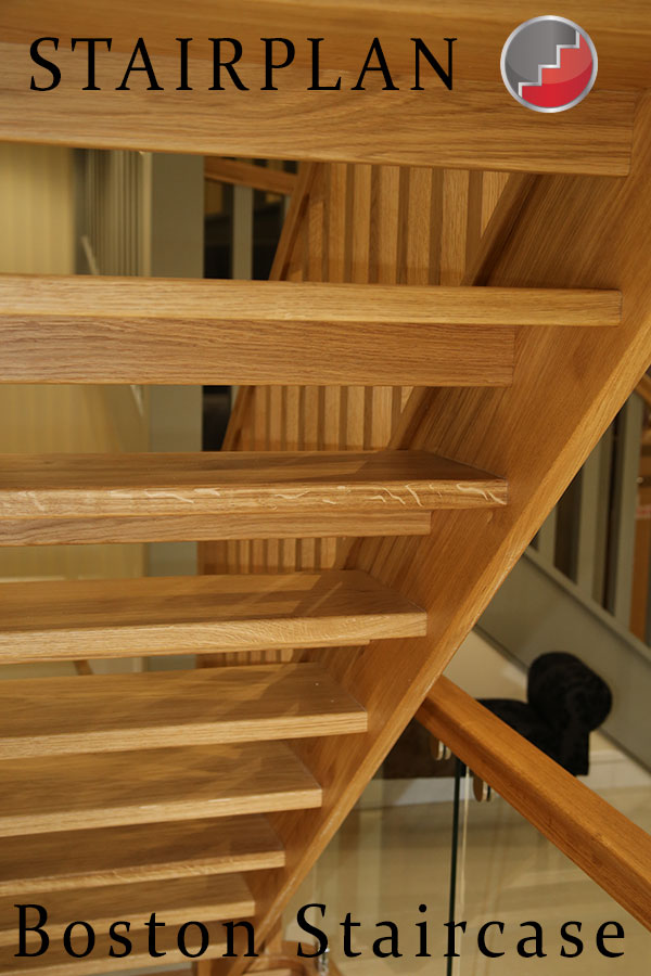 oak open riser staircase from below
