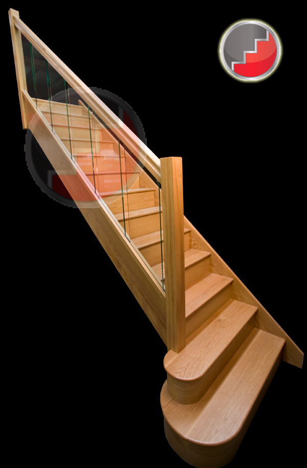 Houston Oak Staircase with glass balustrade panels inline sections