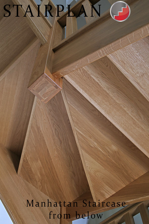 looking at the underside of the manhattan oak staircase