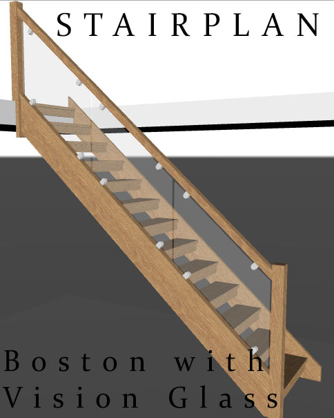 Boston Oak Openplan staircase with Vision Glass balustrade