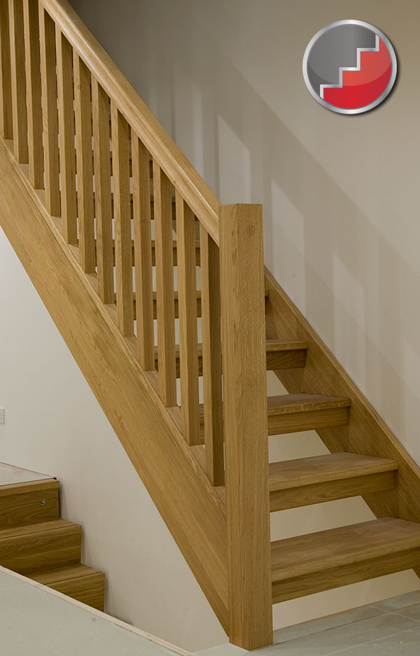 Oak staircase with open risers compliant with uk building regulations