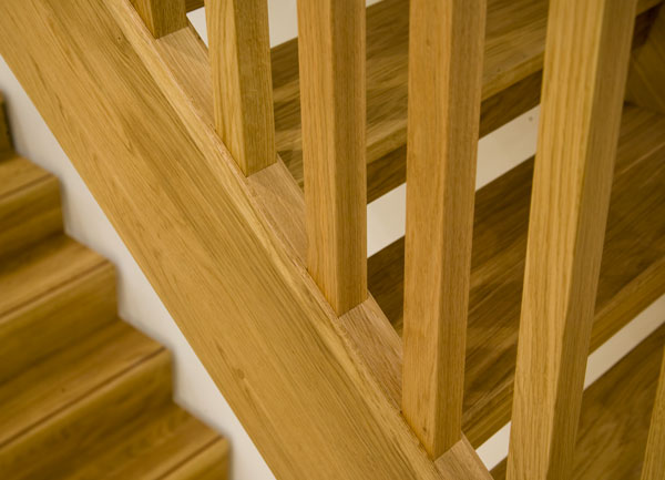 Oak boston staircase with select oak balusters