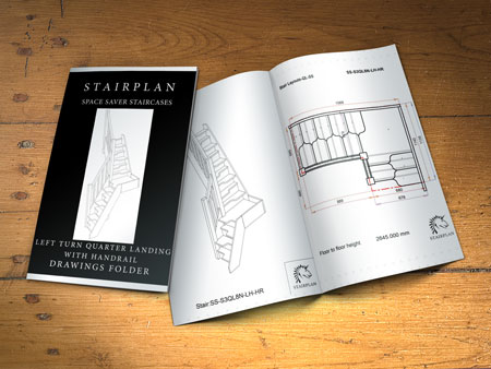 Left Turning space saver staircase plans