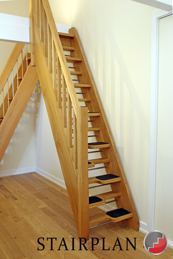 Oak open riser Spacesaving Staircase for loft access