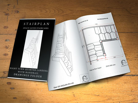 right hand turn space saver loft stairway plan drawings folder with dimensions and 3d views