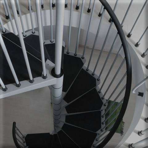 Grey Civic spiral staircases