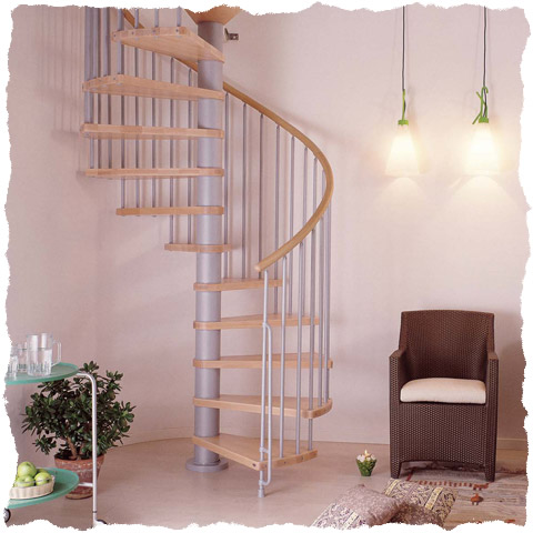 Klan spiral staircase Grey with light beech treads