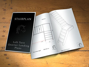 Quarter landing turn staircase plan drawings