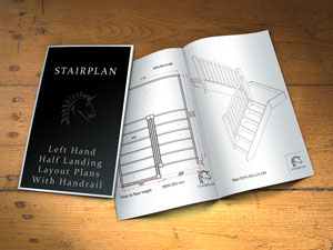 left hand half space landing staircase plan drawings dimesioned