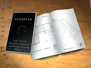 left turning staircase with double quarter landing layouts