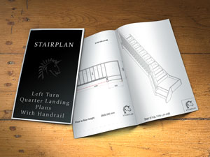 Left Turning Quarter Landing Staircase plans with balustrade