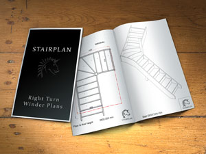 Right turning single winder staircase plans booklet