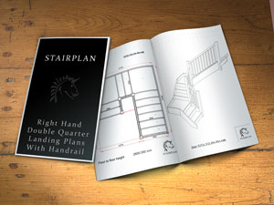 dawings for staircases right turn with landing plaforms