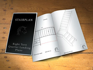 Right turn dog leg stair plan drawings