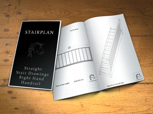 stair plan drawings straight flights with right side handrails